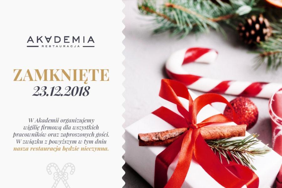 23 grudnia Restauracja Akademia będzie nieczynna