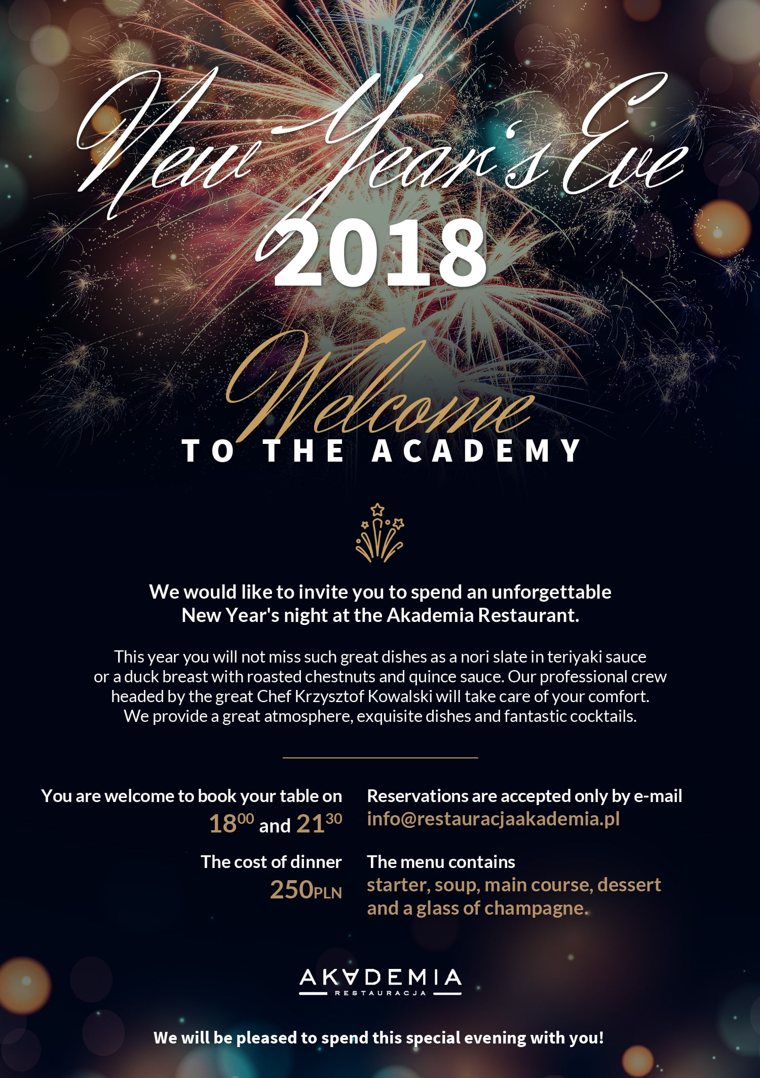 new years eve 2018 in akademia restaurant