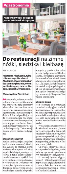 Nasze Miasto Warszawa, gdzie dobrze zjeść w Warszawie, restauracja Akademia